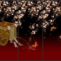 シダレ桜に御所車